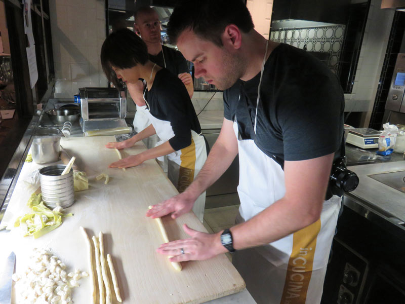 Learning to make gnocchi at Villa Bordoni in Italy